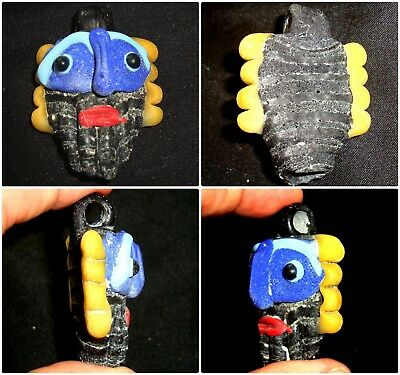 Ancient Phoenician Mosaic Glass Bearded Blue Face Pendant Bead 82