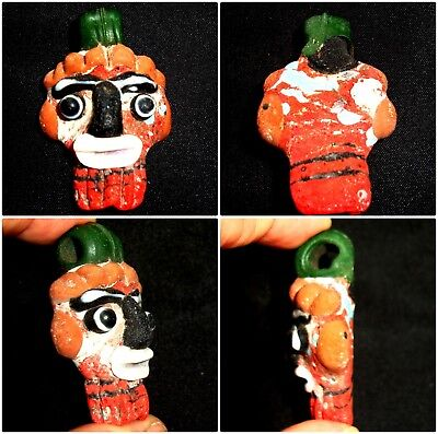 Ancient Phoenician Mosaic Glass Bearded Red Face Pendant Bead 229