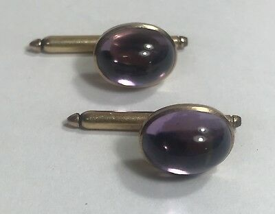1920's RIKER Brothers Antique 14k Yellow Gold Cufflinks, Amethyst Cabochons