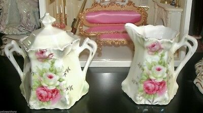 Antique German Dresden Porcelain Victorian Pink Rose Sugar Bowl Creamer Ornate