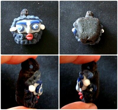 Ancient Style Phoenician Head Mosaic Bearded God Face Art Glass Bead 211