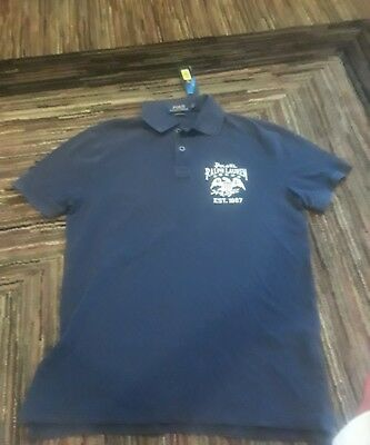 Nwt Polo Ralph Lauren Mens Navy Usa Flag Eagle 1967 Rugby Shirt Custom Slim Fit