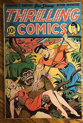 Thrilling Comics #53.  Classic Schomburg-c with Ape Menacing Girl