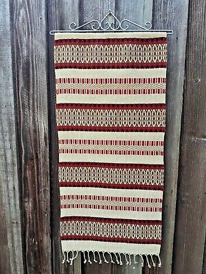 Vintage Swedish red, brown and beige Nordic design wool wall hanging