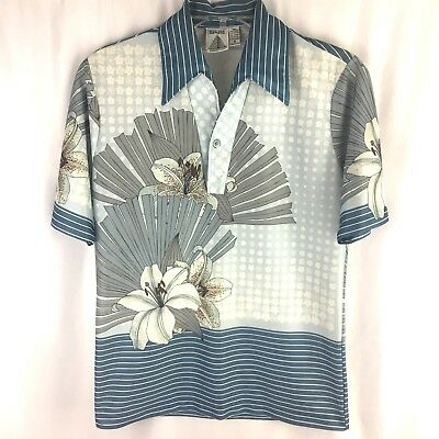 Vintage Spire California Shirt Size Small 1970s Disco Mens Polyester Polo Floral