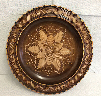 Carved Wooden Charger Plate Folk Art Bowl Treen Dish Floral Center