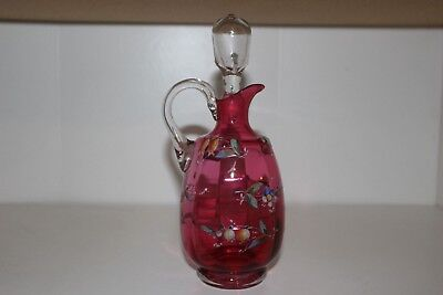 Antique Victorian Hand Painted Cranberry Glass Cruet/decanter W/clear Stopper