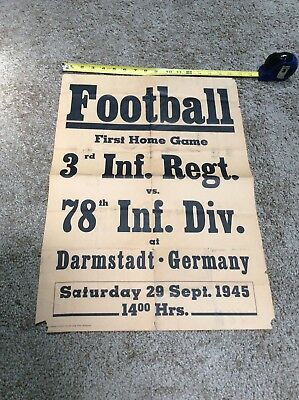 Vintage Rare Ww2 Football Broadside Schedule Army Poster Military