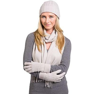 5dc636f8b5e Women s Cold Weather Gloves 100% Cashmere Hat And Scarf Set Gift Box (Stone)