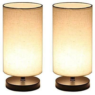 Wood Table Lamps With Fabric Shade, LED Bulb Bedside Desk Lamp, Set Of 2 (Round)
