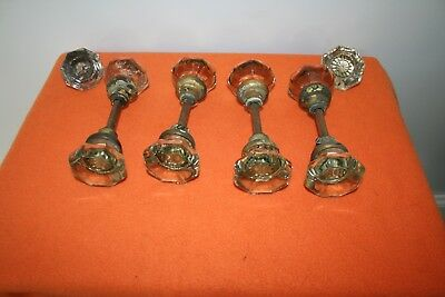 Antique Vintage Clear Glass 8 Point Door Knobs With Hardware 4 Sets Plus extras