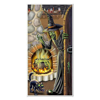 Witch's Brew Door Cover Hanging Decoration Halloween Cat Birthday Party Event