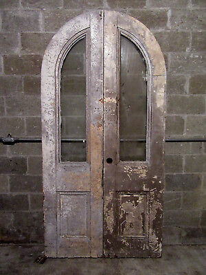 ~ Antique Arched Top Double Entrance French Doors ~ 48 X 95 ~ Salvage ~