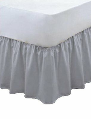 Plain Pollycotton Frilled Bed Base Valance Sheet Grey Single Double