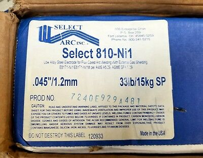Select Arc Inc. Select 810-Ni1, Low Alloy Steel Electrode