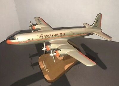 American Airlines Douglas DC-7 Airplane Display Model 1/100 Scale RARE TAPERED