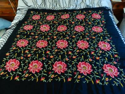 Antique Chinese embroidered black silk piano shawl pink & red flowers & vines