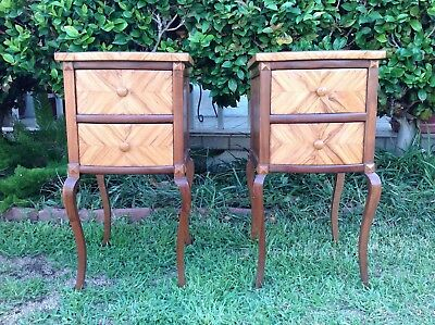 """Pair of Vintage French Style 2 Drawer Nightstand 30"""" Tall"""