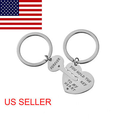 2Pcs You Hold The Key To My Heart Forever Keychain Keyring Couple Gift USA