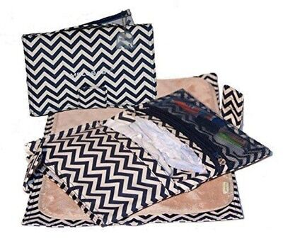 New Melobaby All-In-One Nappy Wallet + Change Mat Chevron Navy Free Express Ship