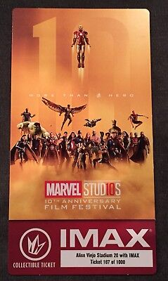 Marvel Studios 10th Anniversary Film Festival IMAX Collectable Ticket