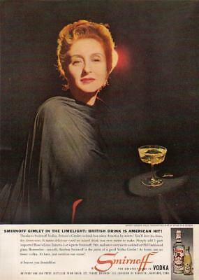 1959 Smirnoff Vodka~Gimlet Celeste Holm photo print Ad : Vintage Advertising