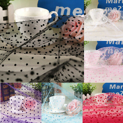 10 Metres Flocked Dot Heart Organza Tulle TUTU Net Fabric Dress  Wedding 160cm