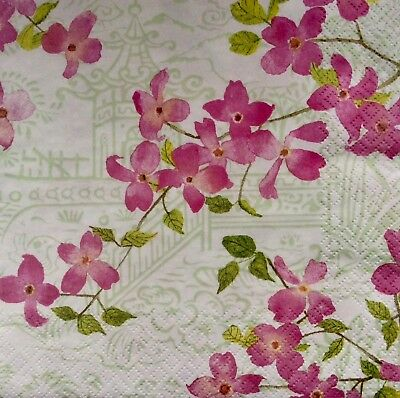 3 Paper Napkins for Decoupage / Parties / Weddings - Blossoming branches