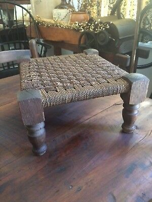 Solid Wood Bench Stool Woven Mid Century Vintage Primitive Antique