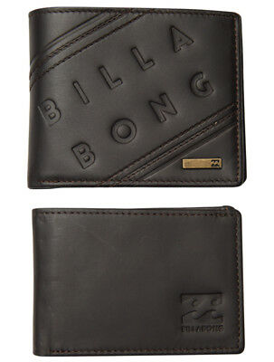 "Leather Wallet Billabong New Mens Men Boys ""brooklyn"" Two In One Trifold Java"