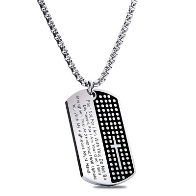 American Dog Tag W/ Isaiah 41 10 Fear Not Pendant Military Strength Steel