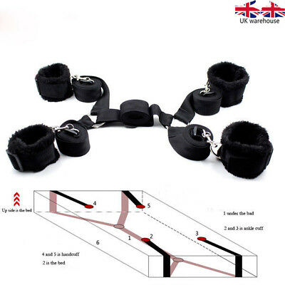 Black -hidden secret New Under Bed Restraint System with Faux Fur Cuffs set UK