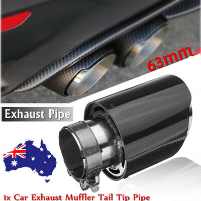 63mm Inlet Universal Car Exhaust Pipe Tail Muffler End Tip Glossy Carbon Fiber