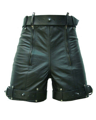 MENS REAL COW LEATHER BLACK CARGO SHORTS with DOUBLE ZIP Carpenter Utility