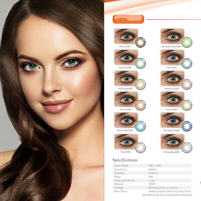 1 Pair 14.5mm DIA Unisex Blue Green Honey Brown Gray Colour Contact Lens Místico