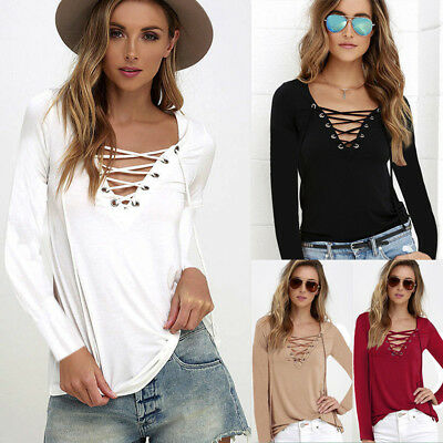 UK Womens Long Sleeve Lace-Up V-neck Tops Blouse Ladies Casual T Shirt Plus Size