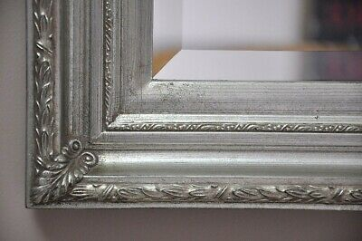 """HELEN WALL MIRROR-""""ANTIQUE SILVER""""-Victorian-ornate PROVINCIAL STYLE-BEVEL EDGE"""