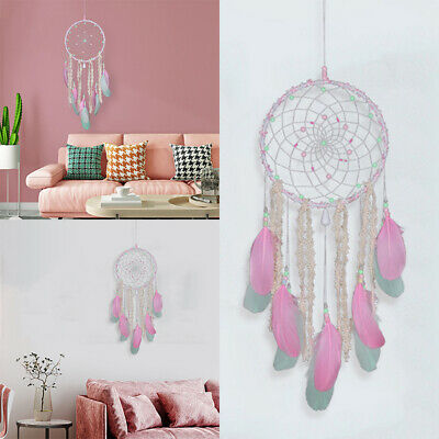 Pink Sweet Dream Catcher Feather Wall Car Home Room Hanging Decoration Ornaments