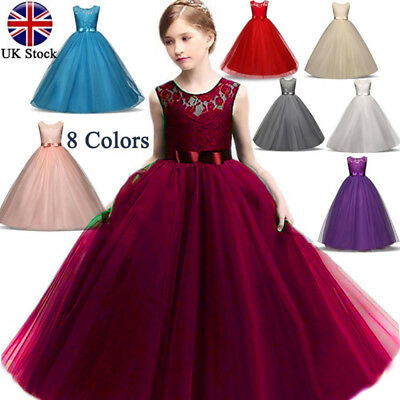 Kid Girl Lace Flower Bridesmaid Maxi Long Dress Party Princess Prom Wedding Gown