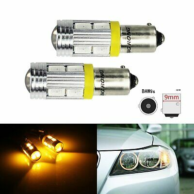 Lot 2 Ampoule LED Orange HY21W BAW9s 10 SMD Clignotant Feux Avant Indicateur DRL