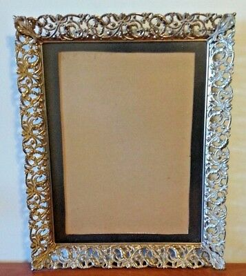 "Vintage Gold Tone Ornate Metal Picture Frame 12"" x 10""-Red Velvet Back Hang Only"