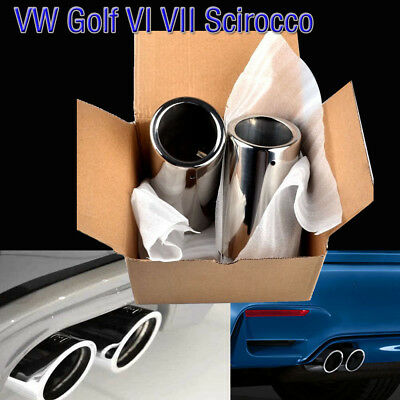 Silver Stainless Steel Exhaust Tail Muffler Pipe Tip for VW Scirocco Golf VI VII