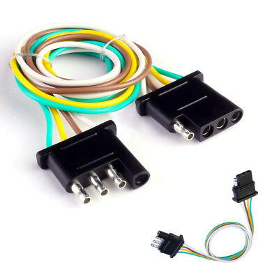 4 pin trailer light wiring harness extension plug 18 awg flat wire connector  2ft
