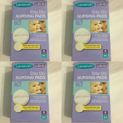 Lansinoh Stay Dry Disposable Nursing Pads 6 Count Boxes (Pack of 4) TOTAL 24