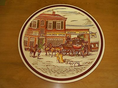 """Vernon Kilns Bits of Old England No. 9 Golden Spur Plate 14"""" FREE SHIPPING."""