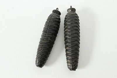 Lot Set of 2 Vintage Cast Iron Cuckoo Clock Pine Cone Weights 1 lb 428 gr 472 gr