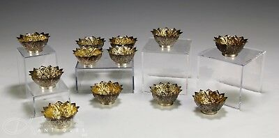 Great Set Of 12 Old Asian Thai Burmese Silver Lotus Bowls With Buddhas