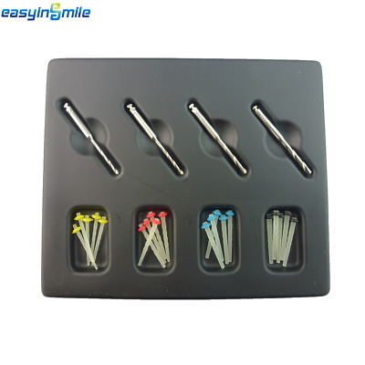 1 Pack Easyinsmile Dental Quartz Glass Screw/Straight Pile Fiber Post& 4 Drills