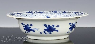 Antique Chinese Blue White Porcelain Bowl With Fish - Kangxi Period