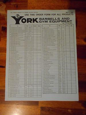 YORK BARBELL COMPANY Gym Equipment products ORIGINAL Order Form (4 pages) 5-86